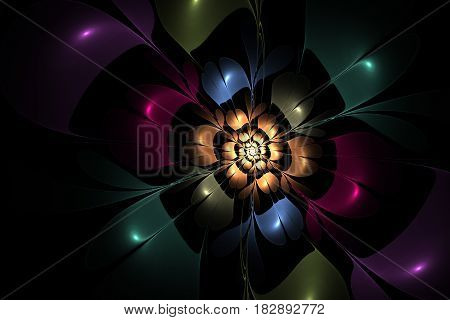 An abstract computer generated modern fractal design on dark background. Abstract fractal color texture. Digital art. Abstract Form & Colors. Abstract fractal element pattern for your design.