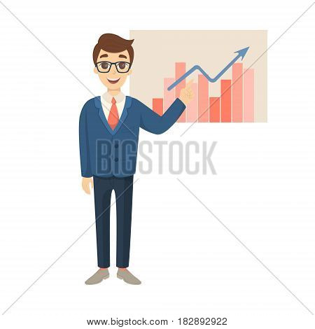 Businessman with graphic board on white background in suit.