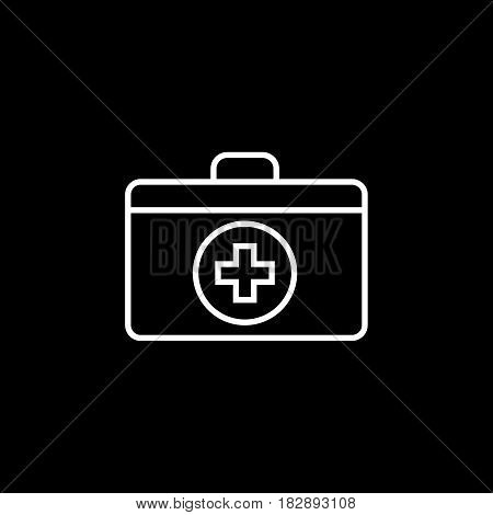 First aid box line icon, medicine, medical cross sign vector graphics, a linear pattern on a black background, eps 10.