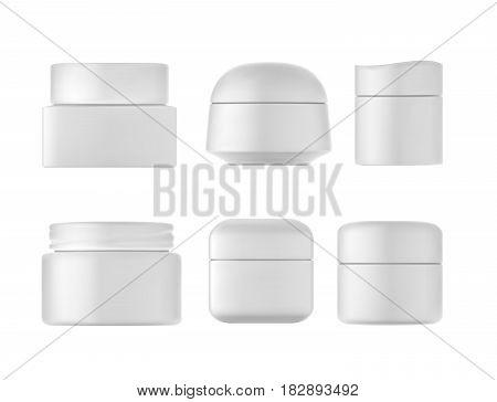 Cream bottles set on white background. 3D illustration.