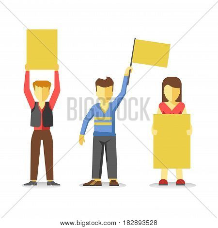 Protesting people holding empty yellow banners isolated on white. Vector of strike at demonstration in flat style design. Worker demonstrators with hands up, revolution for freedom of unemployed man