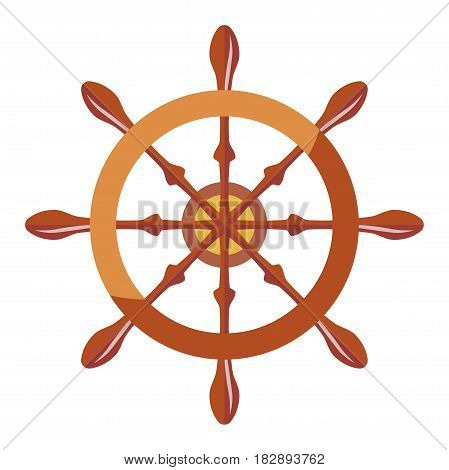 Vector illustration of a vessel steering wheel isolated on white.