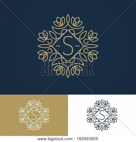 Monogram logo set vintage line style different colors isolated on background for use hotel label, spa service, business emblem, greeting card, wedding invitation etc. Decoration element