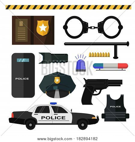 Police accessories set of icons vector illustration. Black handcuffs and baton, yellow bullets, light signaling, electric shock, pistol and bulletproof vest, service car, protective shield and cap