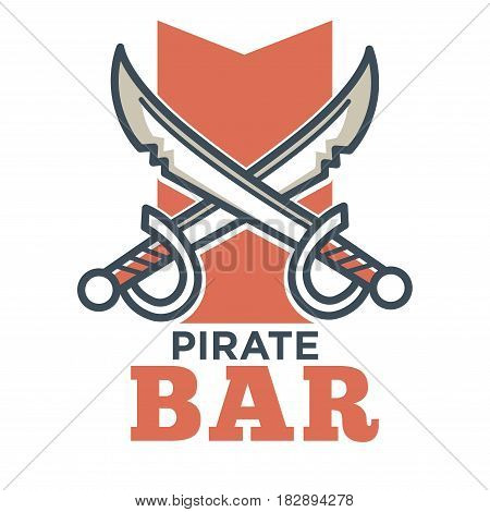 Pirate bar flat logo label isolated on white. Vector colorful picture in flat design of badge with two crossed sharp swords on purple wide stripe and inscription below. Entertainment template icon