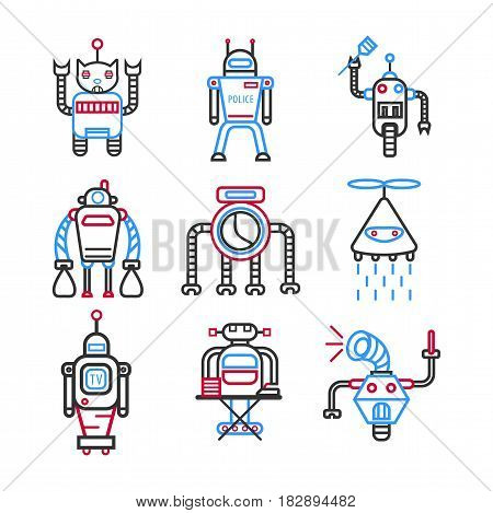 Robots graphic blue collection on white vector picture. Banner of futuristic line-drawn technological devices for cleaning houses, ironing clothes, watering plants, loud speaking, doing police work
