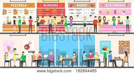 Food court interior set. People buy fast food and drink.