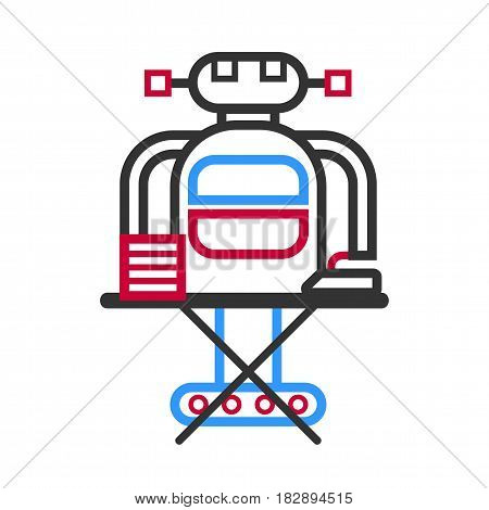 Technological robot housewife making ironing vector illustration in flat style design. Futuristic household android, home helper, robotic cleaner doing household chores isolated on white background