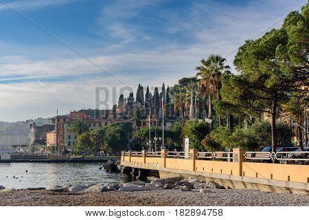 SANTA MARGHERITA LIGURE, ITALY - DECEMBER 2016: Promenade near coastline of Santa Margherita tow in Italy