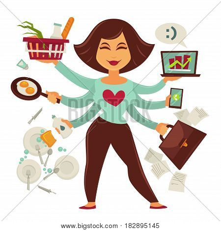 Multitasking female person isolated on white vector picture. Colorful illustration of happy smiling woman with many hands holding objects and doing household or solving problems in business.