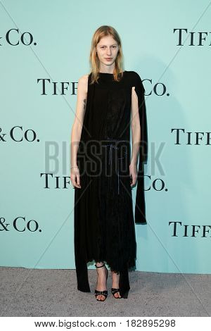BROOKLYN, NY-APR 21: Model Julia Nobis attends the Tiffany & Co. 2017 Blue Book Collection Gala at St. Ann's Warehouse on April 21, 2017 in Brooklyn, New York.