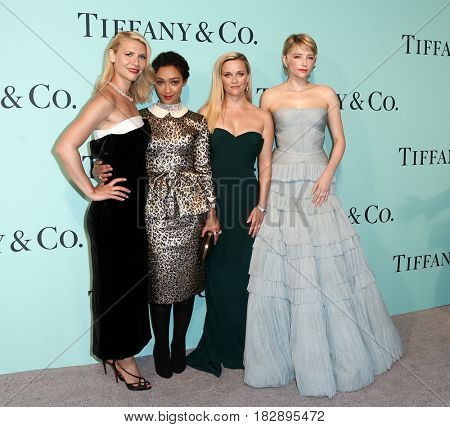 BROOKLYN, NY-APR 21: (L-R) Claire Danes, Ruth Negga, Reese Witherspoon and Haley Bennett at Tiffany & Co. 2017 Blue Book Collection Gala at St. Ann's Warehouse on April 21, 2017 in Brooklyn, New York.