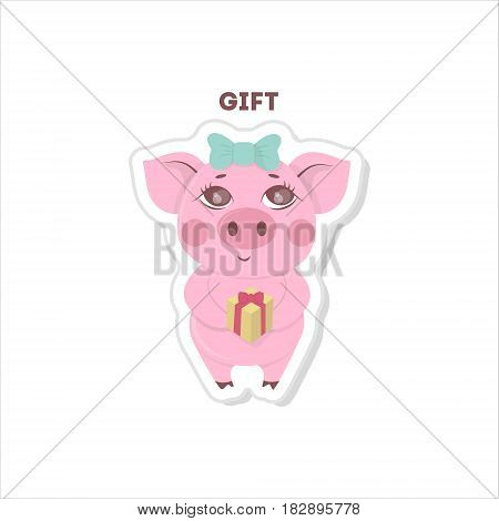 Pig gets a gift sticker on white backround.
