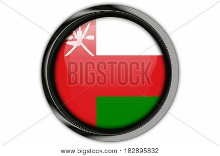 Oman  Flag In The Button Pin Isolated On White Background
