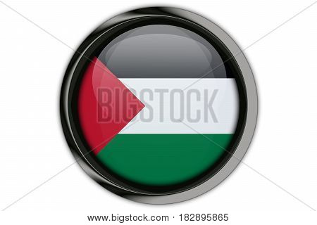Palestine  Flag In The Button Pin Isolated On White Background