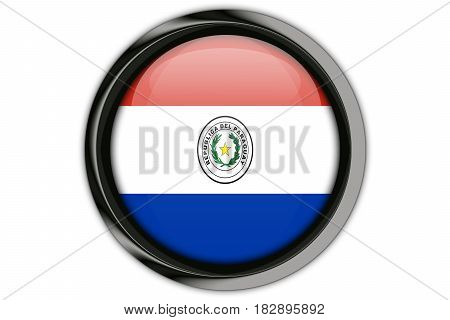 Paraguay  Flag In The Button Pin Isolated On White Background
