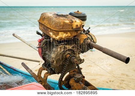 The boat engine is use by long-tailed boat in thailand