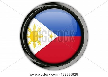Philippines  Flag In The Button Pin Isolated On White Background