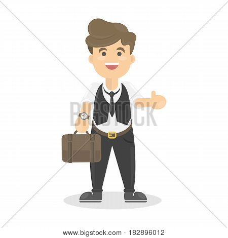 Isolated happy businessman on white background with briefcase and thumbs up.