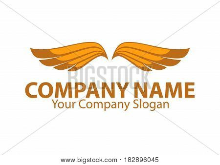 Company name emblem with orange bird wings isolated on white background. Vector illustration of business card and partnership slogan. Symbol of flight, speed moving in air, quickly delivery service.