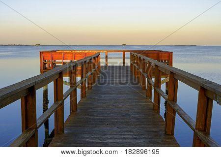 Pier at sunrise located at Crystal Beach Palm Harbor FLorida USA
