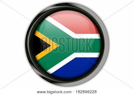 South Africa Flag In The Button Pin Isolated On White Background