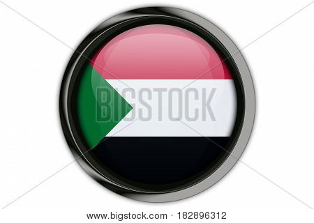 Sudan Flag In The Button Pin Isolated On White Background