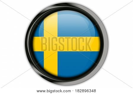 Sweden Flag In The Button Pin Isolated On White Background