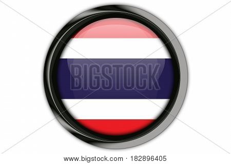 Thailand  Flag In The Button Pin Isolated On White Background