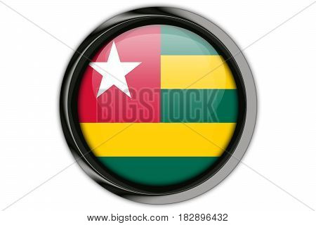 Togo Flag In The Button Pin Isolated On White Background