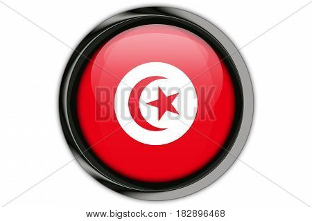 Tunisia Flag In The Button Pin Isolated On White Background