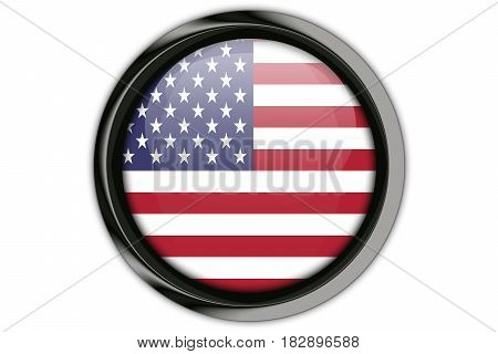 Usa Flag In The Button Pin Isolated On White Background