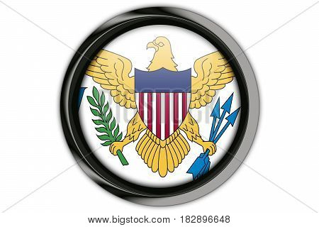 Virgin Islands, Us Flag In The Button Pin Isolated On White Background