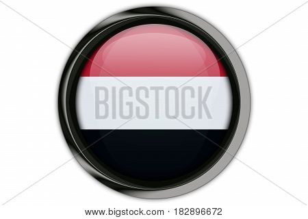 Yemen Flag In The Button Pin Isolated On White Background