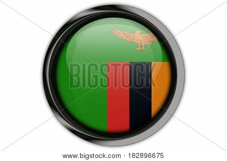 Zambia Flag In The Button Pin Isolated On White Background