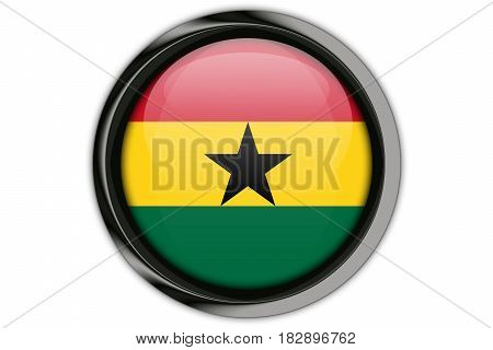 Ghana Flag In The Button Pin Isolated On White Background