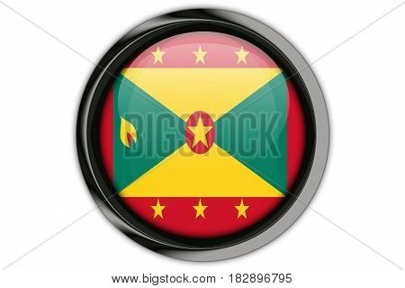 Grenada Flag In The Button Pin Isolated On White Background