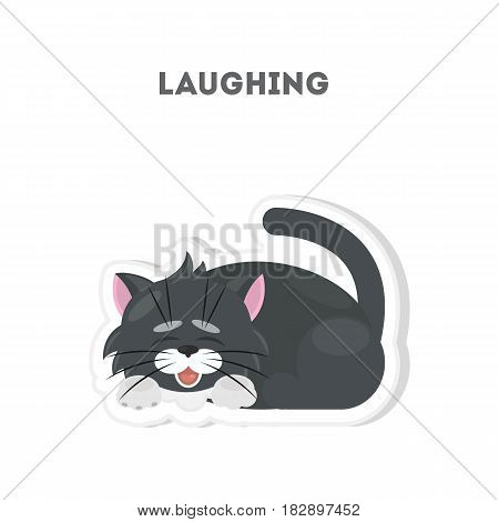 Laughing cat sticker. Isolated cute emoji on white background.