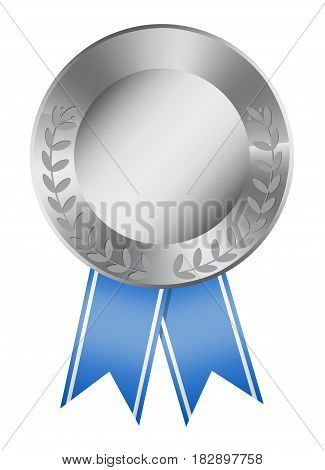 Isolated silver medal on white background. Award with ribbon.