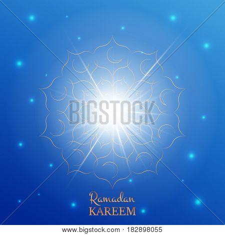 Ramadan Kareem greeting card. Arabian background with shiny stars, gold flower pattern and typography