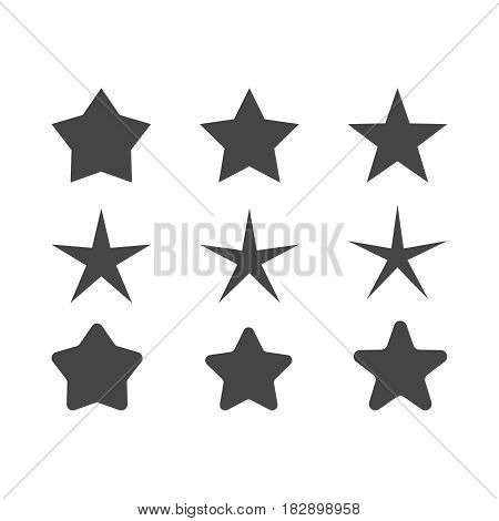 set of stars with different radius of beams  sharp and round corners vector