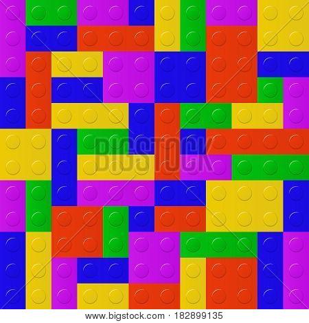 Plastic construction blocks background vector pattern seamless
