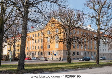 NORRKOPING, SWEDEN - APRIL 19, 2017: The Northern Promenade  in Norrkoping. The three Promenades in Norrkoping were inspired by Paris boulevards.