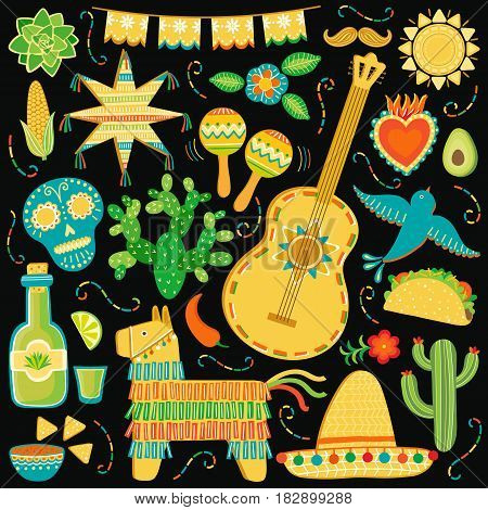 Vector Mexico icon set. Mexican symbols illustration isolated on black background