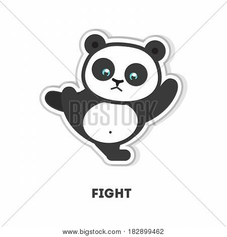 Ready to fight panda. Isolated cute sticker on white background.
