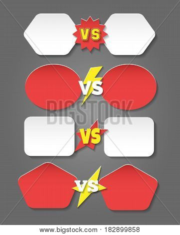 Battle versus labels in flat style. Vector winner team player confrontation vs icons