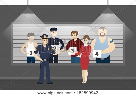 Police office room. Investigation room with guilty men.