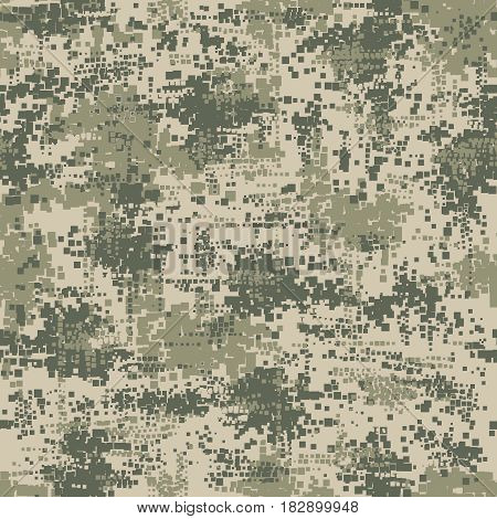 Military army uniform pixel seamless pattern. Vector camouflage digital soldier background texture