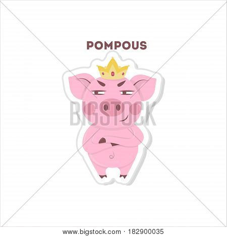 Cute pompous pig. Isolated sticker on white background.