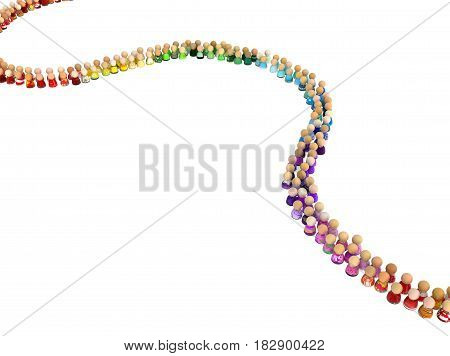 Crowd of small symbolic figures color queue 3d illustration horizontal isolated